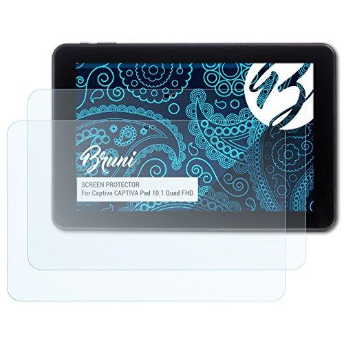 Bruni Schutzfolie kompatibel mit Captiva Captiva Pad 10.1 Quad FHD Folie, glasklare Bildschirmschutzfolie (2X)