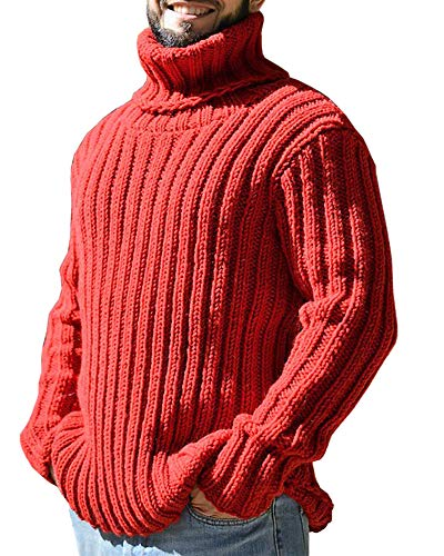 Gafeng Mens Turtleneck Sweaters Winter Thick Ribbed Knit Loose Fit Chunky Thermal Cable Pullover Knitwear