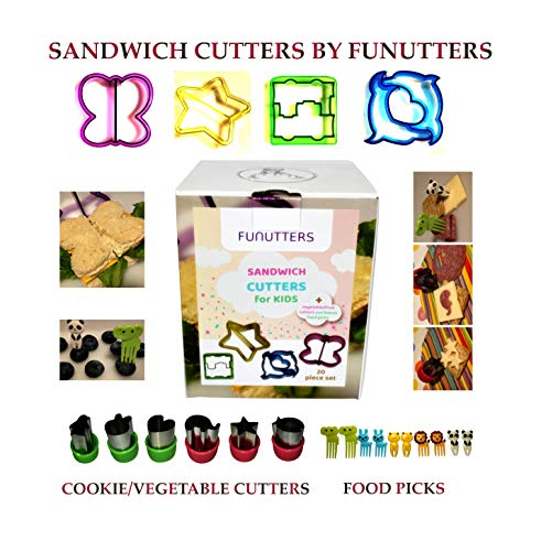 20 Piece Sandwich Cutters for Kids - Fruit, Vegetable and Cookie Cutter Set with Food Picks for Children All Ages