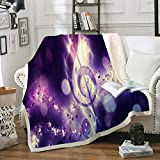 Music Throw Blanket Purple Music Note Sherpa Fleece Blanket Shining Purple Clef Printed Soft Fuzzy Blanket for Bedroom Couch Sofa (Twin(60'x80'), Purple)