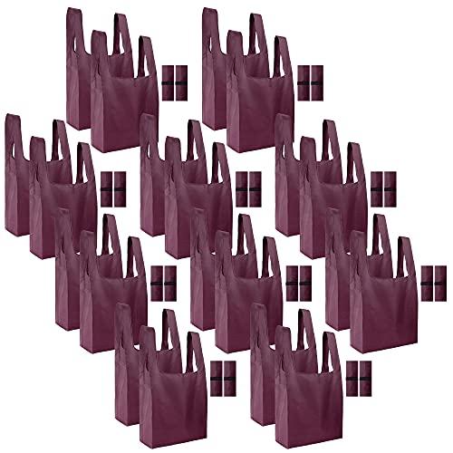 Wiederverwendbare Einkaufstaschen, Set mit 5 großen rosa Einkaufstaschen, faltbar in befestigter Tasche, maschinenwaschbar, langlebig und leicht, Polyester