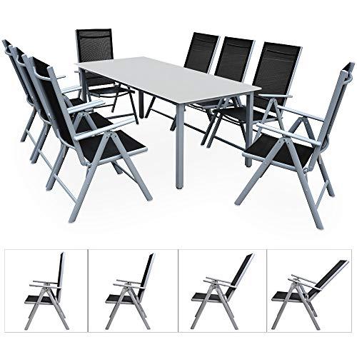 Casaria Sitzgruppe Bern 8+1 Aluminium 7-Fach verstellbare Hochlehner Stühle Milchglas Tisch Silber Gartenmöbel Set