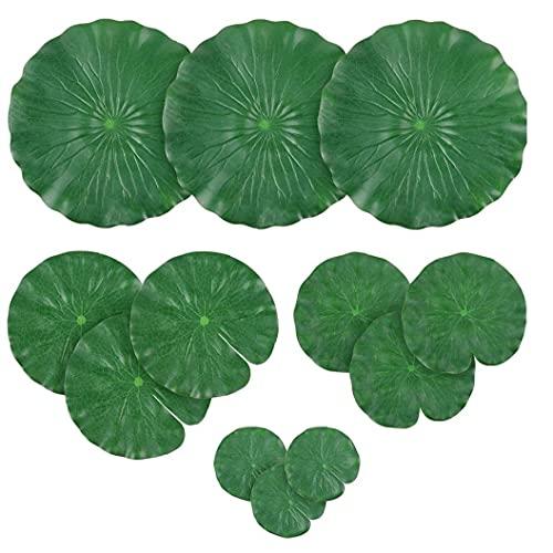Hojas artificiales de Lotus cojines de lirio de agua follaje hojas del lirio de estanque de peces de acuario piscina 12PCS adornos de jardín