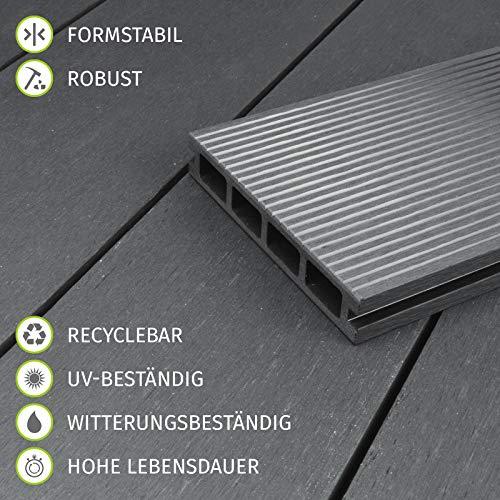HORI® WPC-Terrassendiele Kuba grau I Komplett-Set inkl. 40x60 mm Unterkonstruktion & Clips I Dielenlänge 3,20 m I Fläche 34 m² - 6