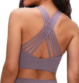 Flyself Women's Cross Back Yoga Sports Bra Strappy Wirefree Running Fitness Gym Yoga Sportswear