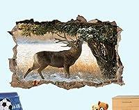 UYEDSRウォールステッカー鹿の森雪ワイルドアート3Dポスターウォールステッカーアートルームデコレーションデカール壁画60x90cm