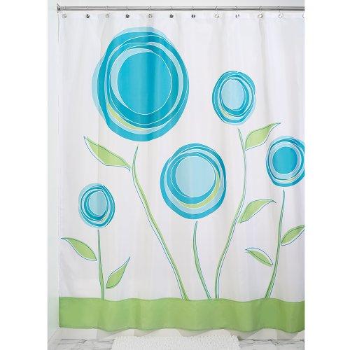 iDesign Marigold Duschvorhang | Designer Duschvorhang mit Ösen in der Größe 180,0 cm x 200,0 cm | mit kunstvollem Blumenmotiv | Polyester blau/grün