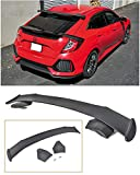 Extreme Online Store Replacement for 2016-Present Honda Civic FK4 FK7 Hatchback | JDM Spoon Style ABS Plastic Primer Black Rear Roof Top Wing Spoiler