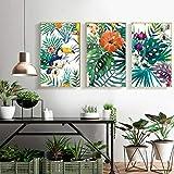 jjshily Refrescante Selva Tropical Plantas Verdes Loro Impresiones De Hojas Impresiones De La Lona Wall Art Pictures Living Room Decor, 60X80
