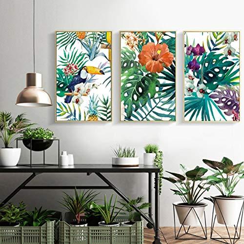 Refrescante Selva Tropical Plantas Verdes Loro Impresiones De Hojas Impresiones De La Lona Wall Art Pictures Living Room Decor, 60X80
