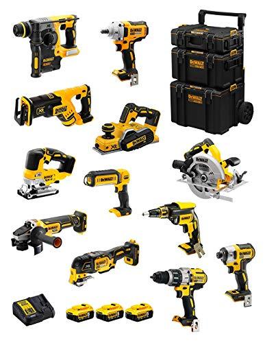 DeWALT Kit DWK1201 (DCD996 + DCH273 + DCG405 + DCF887 + DCF894 + DCS334 + DCS570 + DCS355 + DCP580 + DCS367 + DCL050 + DCF620 + 3 Baterías de 5,0 Ah + Cargador + Carro 3en1)
