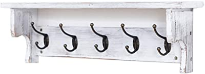 Amazon.com: Perchero de madera maciza con 5 ganchos ...
