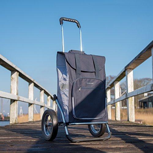 Andersen Royal Shopping Cart with Dante Saddlebag Navy Blue, 45L Volume, Insulated Pocket, Steel Frame and Metal Spoke Wheels