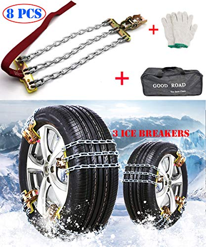 Car Snow Tire Chains Mud Chains, 8PCS Car Anti Slip Tire Chains Anti-Skid Chains, Adjustable Universal Car Snow Tire Iron Chains for Most Car/SUV/Truck for Tire Width M: 8.1''-8.9'' ( M: 205-225 mm)