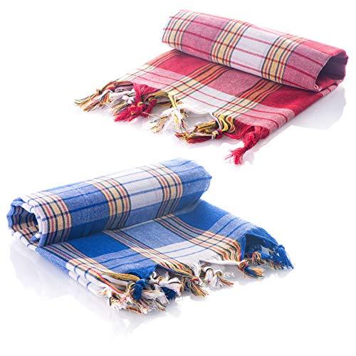 Juego de 2 toallas de hammam Turcas Pestemal 100% algodón desecado rápido para el Baño, el Gimnasio y la Playa, 80*180cm, 250 gr. Toalla compacta para Spa, Picnic, Manta, Colcha (Azul/Rojo)