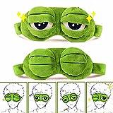 Sleep Masks for Women,Eye Mask for Sleeping,BUMSUFON Night Mask Sad Frog Cute Block Out Light, Soft Comfort Eye Shade Cover for Travel Yoga Nap, Green