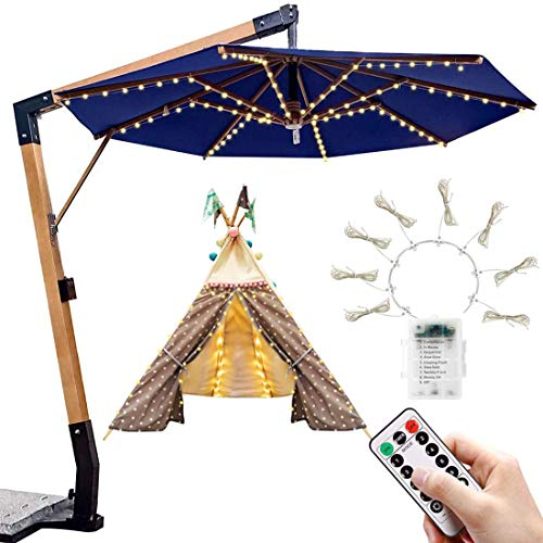 Patio Umbrella Lights 104 LED Parasol String 8 Mode Waterproof Garden String Lights Battery Operated with Remote Control Outdoor Umbrella Pole Lighting for 6-10ft Backyard Camping Tents Décor