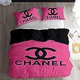 Ropa De Cama 155 × 220 Cm Chanel Rosa Oscuro Juego De Funda Nórdica 3 Piezas Funda Nórdica De Microfibra Suave para Adultos Y Niños con Cremallera Y 2 Fundas De Almohada De 50 X 75 Cm