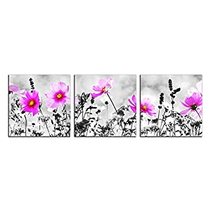 NAN Wind 3 Pcs Canvas Print Black and White Peacock Pink Vase Flowers Abstract Paintings Purple Flowers Artwork The Picture for Living Room Decoration Flowers Prints On Canvas 12X12inches