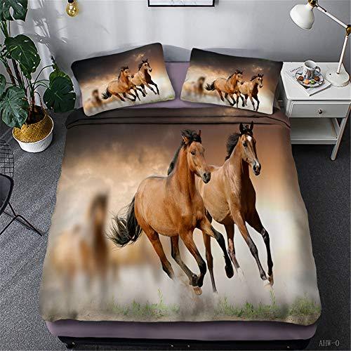 SHJIA Pentium Horse 3D Patrón De Accesorios De Cama Individual Y Doble, Funda De Edredón Y Funda De Almohada Grandes De Poliéster, Juego De 3 Piezas, Textiles para El Hogar del Dormitorio