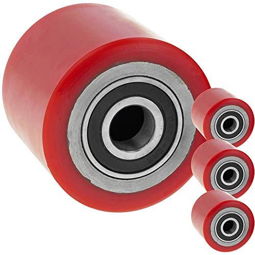 PrimeMatik - Paletten Fixierer Rad für Hubwagen Polyurethan Rolle 80x70 mm 800 Kg 4-Pack