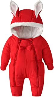 Xifamniy Infant Baby Winter Wadded Cotton Romper Double Zipper Gloves Hooded Jumpsuit