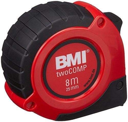 BMI 472841021 Taschenbandmaß Two Comp, Länge 8 m, weisslackiertes Band, mit Clip