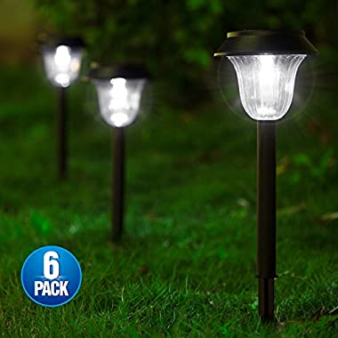 [2018 UPGRADED] Solar Lights Outdoor for Garden/Pathway/Walkway Decoration, 7 LM LED Auto ON/OFF Operation & IP44 Waterproof, Anti-corrosion Firm Design, Suits for Yard, Lawn, Patio, Driveway