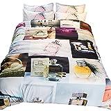 HY Einfaches Mode Parfüm Muster Atmungsaktives Bett Set Vierteiliges Set 1,8 M