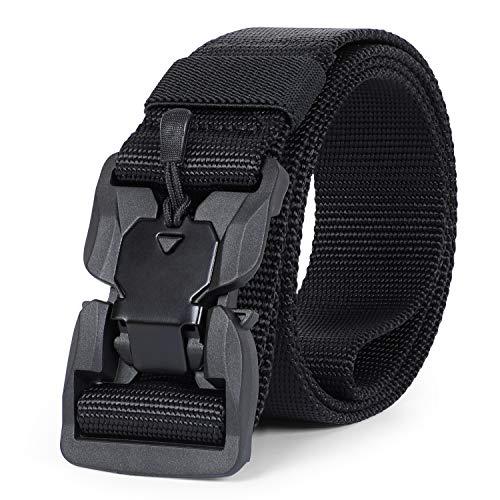 JASGOOD Tactical Belt-Men Military Belt-Nylon Rigger Belt with Magnetic Automatic Buckle(Black,XL 46-51Inch)