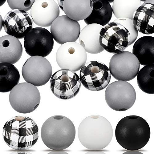 160 Pieces Craft Wood Round Beads Plaid Wood Beads Summer Christmas Wood Bead Natural Farmhouse Beads Polished Colorful Wooden Beads for Craft DIY Beads Garland (Black White Plaid)