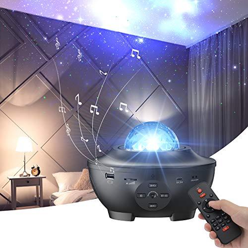 muson Sternprojektor mit Bluetooth-Lautsprecher Fernbedienung Nachtlicht mit beweglicher Meereswelle für Urlaub Dekor Stimmung Ambiente Heimkino Beleuchtung Bühnenlichter für Kinder Erwachsene