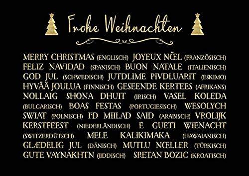 DeCoArt… Set 3 Postkarten Frohe Weihnachten Weihnachtswünsche Tannenbaum schwarz 15 x 10,5 cm