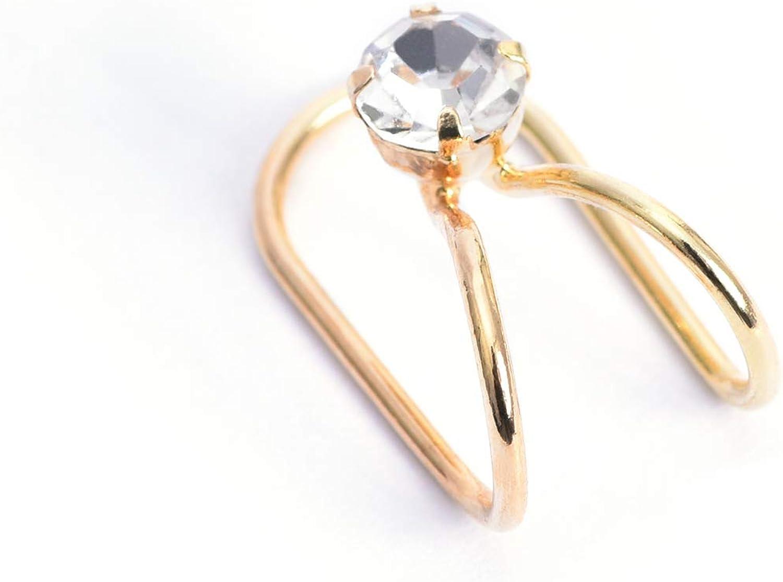 KAKA Gold Plated Adjustable Cuff Earrings Clip for Women Girls Artificial Diamond Ear Cuff Clip Gifts, Golden