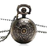 XXNYD Bronze Copper Spider Web Design Small Size Ball Shape Pocket Watch Women Men Necklace Birthday Gift Clock