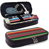 Caja de lápices de cuero de rayas de manta mexicana colorida Bolsa de cosméticos de gran capacidad Bolsa de pluma