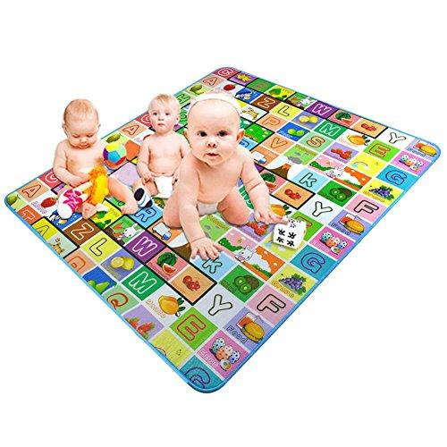 Alfombra de Bebé Alfombra de juego infantil, Estera de arrastre para bebé tapete de juego Doble Cara Resistente al Agua no tóxico LDPE de Suelo Esterilla para Bebés infantil Exercise Area Carpet.