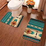 Indiana Western Southwest Mesas Soft Flannel Bathroom Rugs Non Slip 2-Piece Bath Mat Set Super Absorbent Bath Rug + U-Shaped Contour Toilet Mat