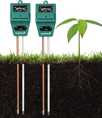 Fosmon Soil pH Tester (2 Pack) - 3-in-1 Measure Soil pH Level, Moisture Content, Light Amount Soil Test Kit for Indoor Outdoor Plants, Flowers, Vegetable Gardens and Lawns
