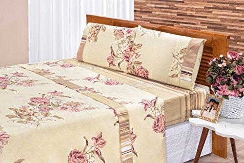 Jogo de Cama Requinte Casal Floral Palha 04 Peças Bia Enxovais Floral Palha Tecido