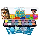 Blue Squid Face Paint for Kids - 18 Large 10ml Washable Colors, 18 Stencils, Safe Facepainting for Sensitive...