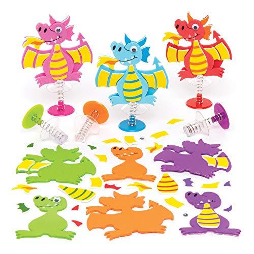 """Baker Ross Hüpffiguren-Bastelsets """"Drache"""" (6 Stück) – für Kinder zum Zusammensetzen und Spielen"""