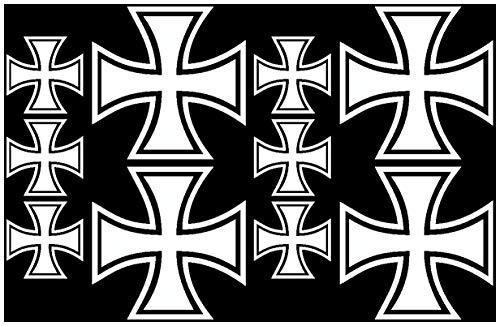 Samunshi® 10x Aufkleber Eisernes Kreuz im Set Bogen26x17cm weiß