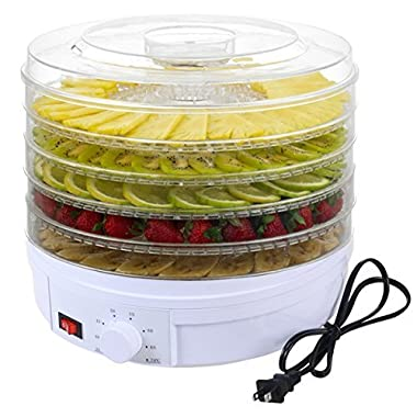 5 Tray Electric Food Dehydrator Fruit Vegetable Dryer Beef Snack Jerky White New US Ship