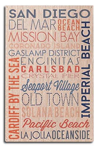Lantern Press San Diego, Californie – Typographie 10 x 15 Wood Sign Multicolore