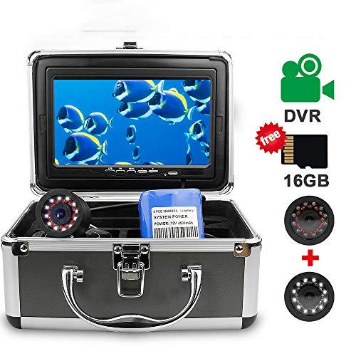 SMAA Caméra sous-Marine de pêche, système Fish Finder, avec 24 LED, 7 Pouces IPS 1080P Moniteur avec DVR 16 Go Carte SD pêche caméra vidéo pour la Glace, Lac, Bateau, Mer (15M)