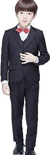 (AIMI)男の子 フォーマル スーツ 子供服 ジャケット ベスト シャツ ズボン 蝶ネクタイ 5点セット ボーイズ 卒業式 入学式 結婚式 演奏会 発表会 入園式 七五三 NT013