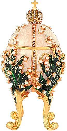 LiuliuBull Caja clásica de la Lanza de joyería de la Vendimia con el Esmalte de Diamantes de Esmalte Adornos de Estilo Victoriano Regalo para la decoración del hogar (Color : 003White)