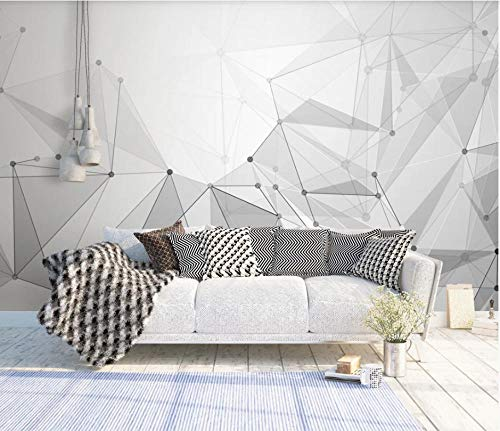 SHANGZHIQIN Custom 3D Mural Wallpaper Canvas Bedroom, Black and White Minimalist Minimalistic Abstract Geometric Figure Lines