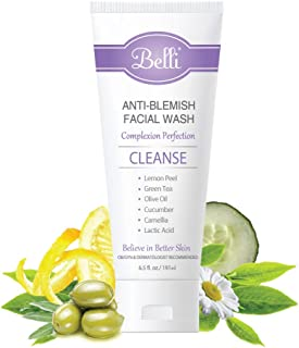Belli Anti-Blemish Acne Facial Wash (6.5 Oz) – Pregnancy Safe Acne Face Cleanser - Clear Blemishes and Prevent Breakouts - Lactic Acid, Green Tea, Cucumber - Non-Irritating Formula